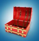 Ouvrez le coffre rouge 3d que vides rendent sur le fond de gradient Images stock