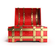 Ouvrez le coffre rouge 3d que vides rendent sur un fond blanc Photo stock