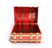 Ouvrez le coffre rouge 3d que vides rendent sur un fond blanc Photographie stock