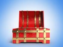 Ouvrez le coffre rouge 3d que vides rendent sur un fond de gradient Photos stock