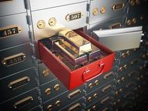 Ouvrez le compartiment de coffre-fort avec les lingots d'or Inv financier d'opérations bancaires illustration libre de droits