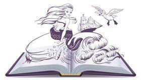 Ouvrez le conte de livre de la sirène La lecture développe l'imagination Images libres de droits
