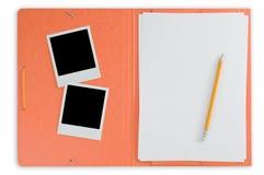 Ouvrez le dépliant et les photos instantanées Images stock