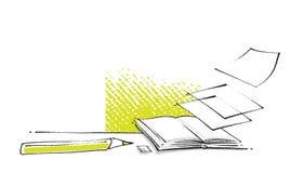 Ouvrez le graphisme de livre, conception stylized, retrait de dessin à main levée Photo stock