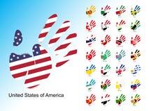 Ouvrez le handprint humain avec le drapeau national à l'intérieur illustration stock
