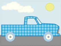 Ouvrez le jour bleu du soleil de route de camion de dessin animé de rapiéçage Photos stock