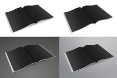 Ouvrez le journal de papier Journal de papier, magazine vide sur un fond de blanc, gris et noir Image libre de droits