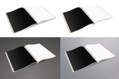 Ouvrez le journal de papier Journal de papier, magazine vide sur un fond de blanc, gris et noir Photo libre de droits