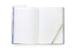 Ouvrez le journal intime d'affaires avec la note de stylo et d'euro Images libres de droits