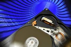 Ouvrez le lecteur de disque dur avec des effets binaires de couleur photographie stock