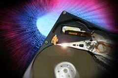 Ouvrez le lecteur de disque dur avec des effets binaires de couleur images libres de droits