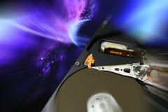 Ouvrez le lecteur de disque dur de l'ordinateur, avec des effets de postproduction images stock