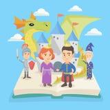 Ouvrez le livre avec le château et les caractères du conte de fées illustration stock