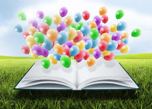 Ouvrez le livre avec des ballons Photos libres de droits