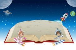 Ouvrez le livre avec des enfants de bande dessinée d'astronaute illustration libre de droits