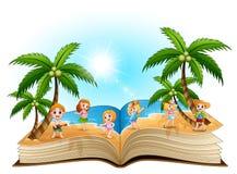 Ouvrez le livre avec le groupe d'enfants heureux sur la plage illustration de vecteur