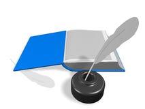 Ouvrez le livre avec l'encrier encastré et le crayon lecteur illustration stock