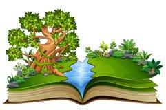 Ouvrez le livre avec la bande dessinée d'animaux sur les arbres illustration de vecteur