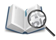 Ouvrez le livre avec la loupe illustration libre de droits