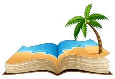 Ouvrez le livre avec la plage tropicale sur un fond blanc illustration stock
