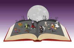 Ouvrez le livre avec la pleine lune au-dessus d'un cimetière avec les caractères classiques de monstre de bande dessinée drôle illustration libre de droits