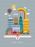 Ouvrez le livre avec la scène de rue de ville dans la conception plate illustration de vecteur
