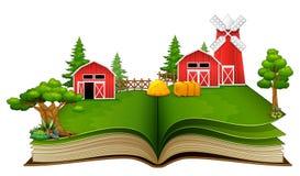 Ouvrez le livre avec la scène, la grange et les arbres de ferme sur un fond blanc illustration libre de droits
