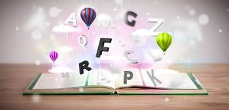 Ouvrez le livre avec piloter les lettres 3d sur le fond concret Images libres de droits
