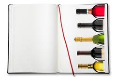 Ouvrez le livre d'exercice vide (la carte des vins) Photo libre de droits
