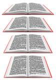 Ouvrez le livre dans différentes perspectives Images libres de droits