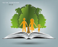 Ouvrez le livre des histoires heureuses de famille illustration stock