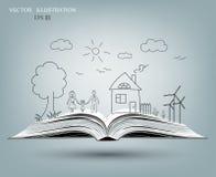 Ouvrez le livre des histoires heureuses de famille Photos libres de droits