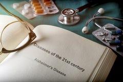 Ouvrez le livre des maladies du 21ème siècle Photographie stock libre de droits