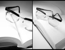 Ouvrez le livre et les lunettes photographie stock libre de droits