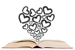 Ouvrez le manuel avec l'icône de dessin de stylo d'icône de forme de coeur Image libre de droits