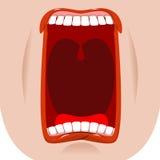 Ouvrez le massage facial de bouche Dents et langue faim bâillements sur le dos de blanc Photo libre de droits