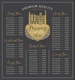 Ouvrez le menu de bière avec les listes des prix et la brasserie Image stock