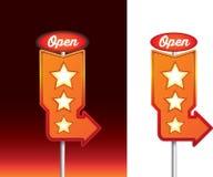 Ouvrez le message sur le signage au néon de rétro wagon-restaurant de vintage la nuit Photos libres de droits