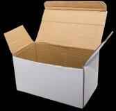 Ouvrez le noir d'isolement blanc de boîte en carton Photographie stock libre de droits