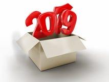 Ouvrez le paquet avec 2019 illustration de vecteur