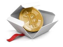 Ouvrez le paquet avec Bitcoin illustration de vecteur