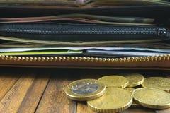 Ouvrez le portefeuille avec l'argent, les cartes de crédit et les euro pièces de monnaie image libre de droits
