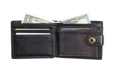 Ouvrez le portefeuille en cuir noir avec des dollars d'argent liquide Photo stock