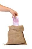 Ouvrez le sac avec 500 euros Photographie stock