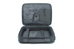 Ouvrez le sac d'ordinateur portatif d'isolement Photographie stock