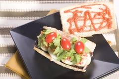 Ouvrez le sandwich à Vietnamien de Banh MI de Vegan de visage Photographie stock