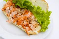 Ouvrez le sandwich à langoustine Image stock