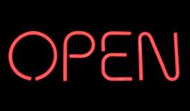 Ouvrez le signe. image stock