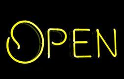 Ouvrez le signe au néon Photo libre de droits
