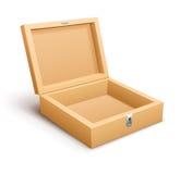Ouvrez le vecteur vide de boîte en bois Images stock